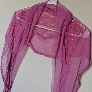 Pink Scarf with Lace Detail